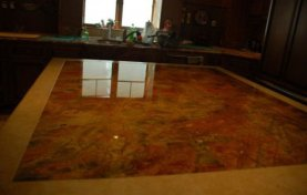 Red Marble Island Top Polished