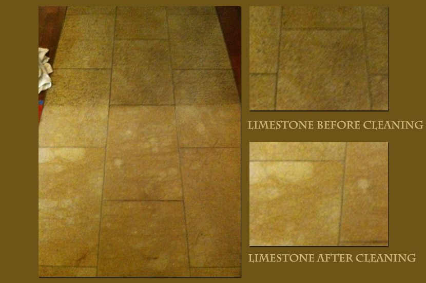 limestone before and after cleaning