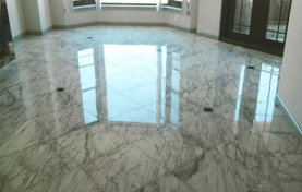 Marble Floor With Black Granite Inlays