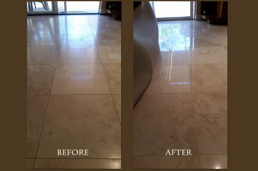 travertine honed cleaned before after