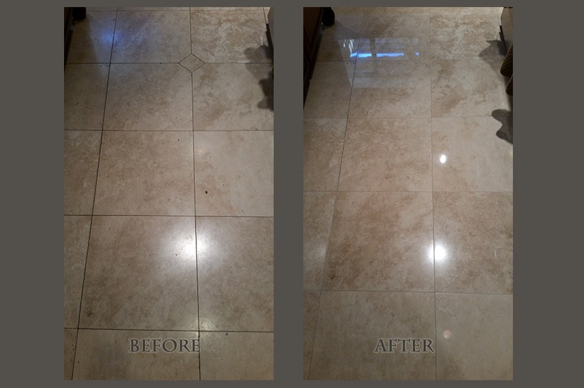travertine light polish before after