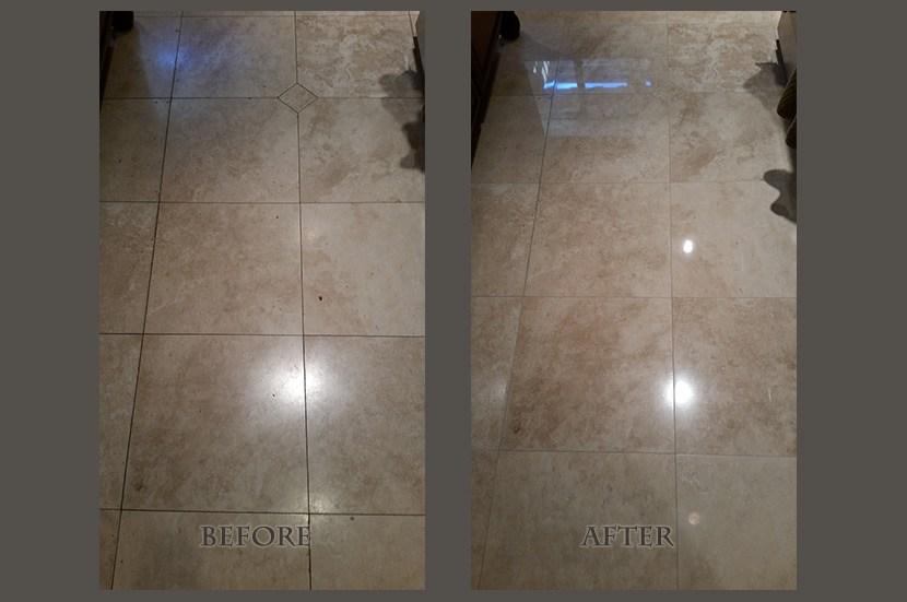 travertine light polish before after