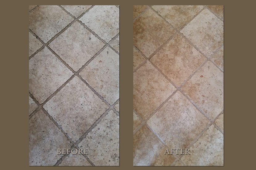 tumbled travertine floor restoration