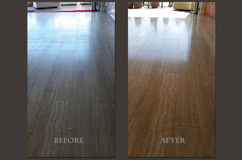 veined cut travertine plank floor restored before and after