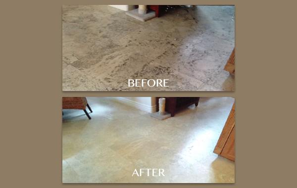 Filling Voids in Travertine Floor