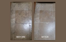 Travertine Cleaning, Honing, and Filling