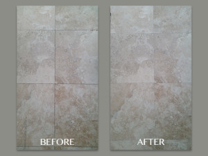 Travertine Grout Lines Cleaned