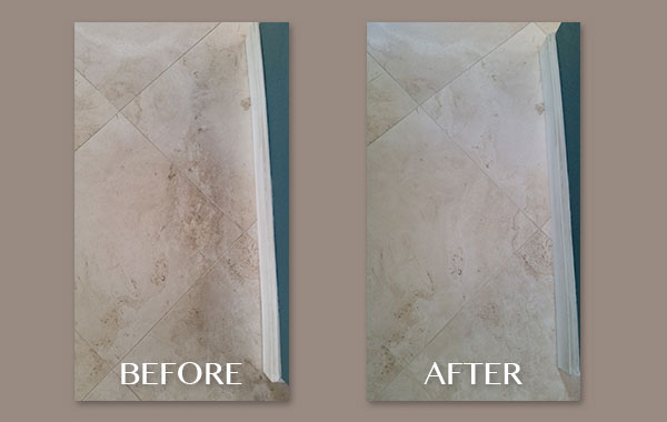 Dirty, Honed Travertine Cleaned
