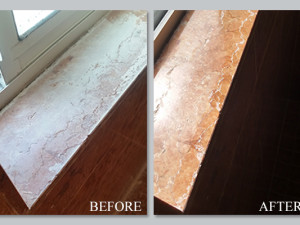 red marble window sill restoration