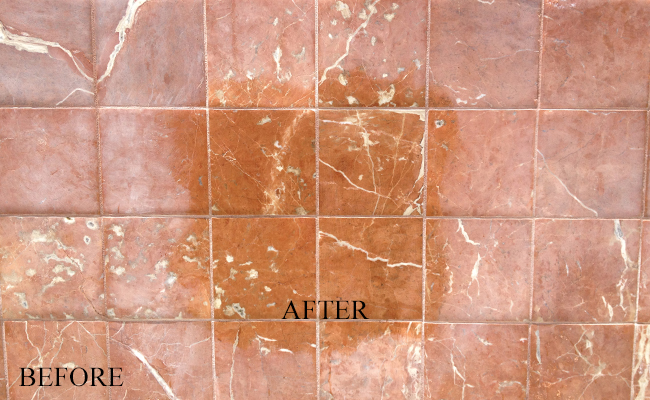 marble hard water stains removed