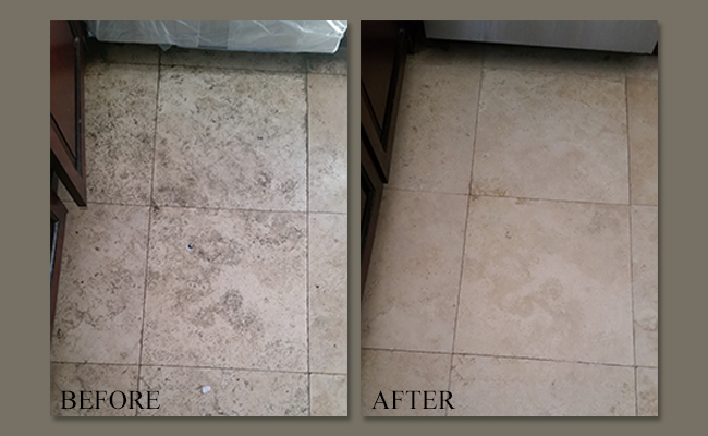 Travertine Laundry Room Floor Restored