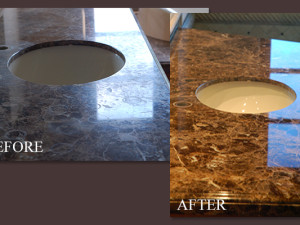 Marble Vanity Before and After Polishing