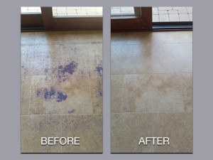 Travertine Before and After Cleaning