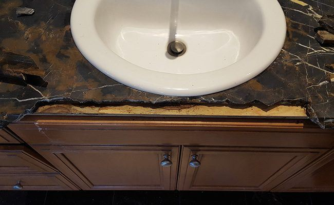 Cracked Marble Countertop