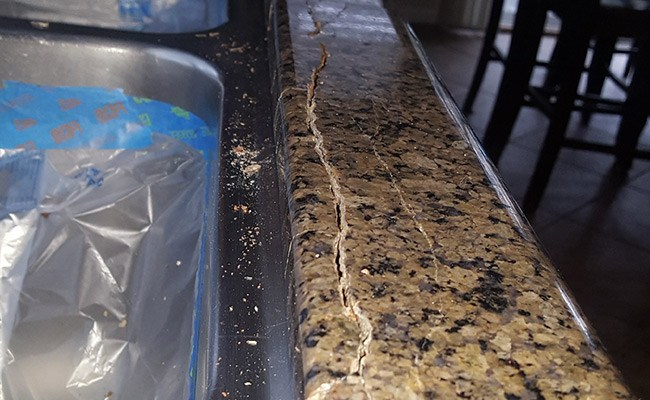 Water Damage Causes Granite Countertop Crack