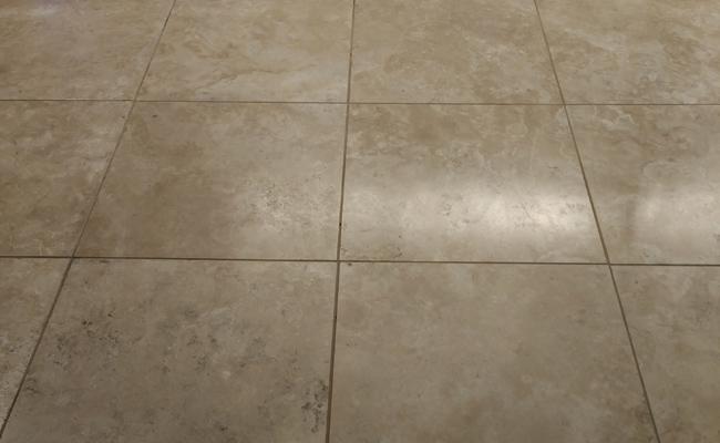 Barona Travertine Floor Before Topical Sealer
