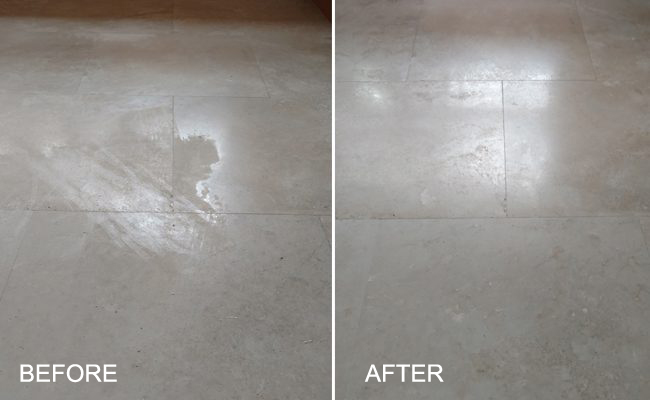 Before and After Etched Travertine