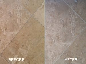 Honed Travertine Before and After