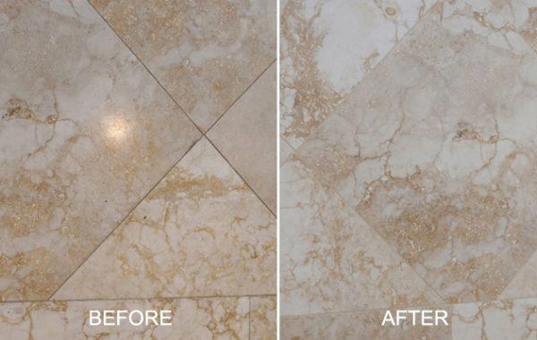 Honed Marble Etch Damage Erased