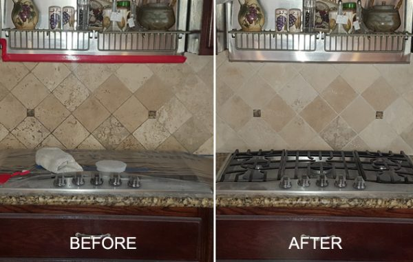 Honed Travertine Backsplash Restored