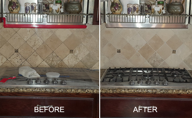 Before and After Travertine Backsplash