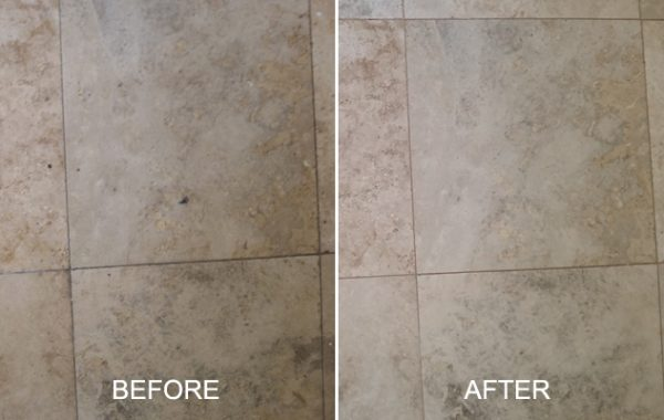 Well-Trafficked Travertine Cleaned and Honed
