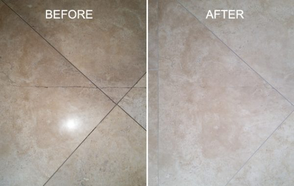Travertine Floor Crack Repaired