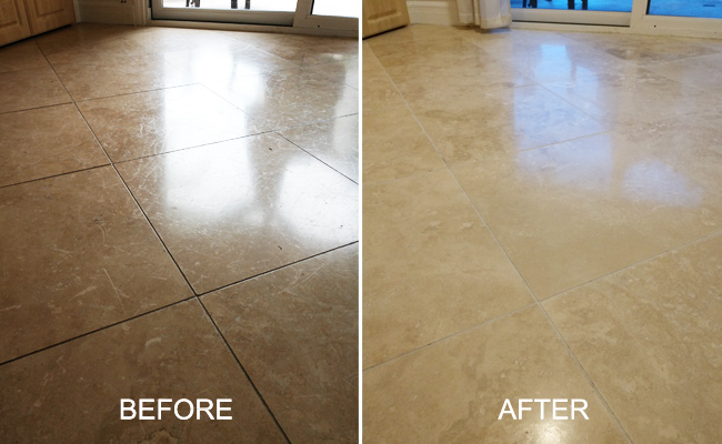 Old Travertine Sealer Removed