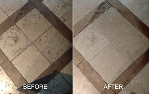 Travertine and Wood Inlays Restored