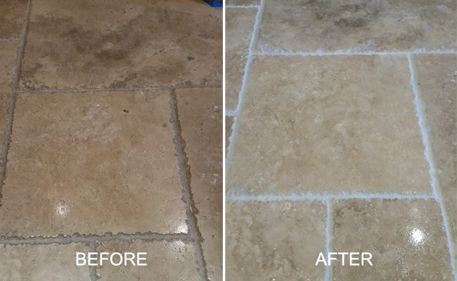 Tumble Travertine Before and After