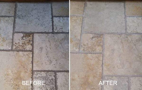 Tumbled Travertine Floor Deep Cleaned