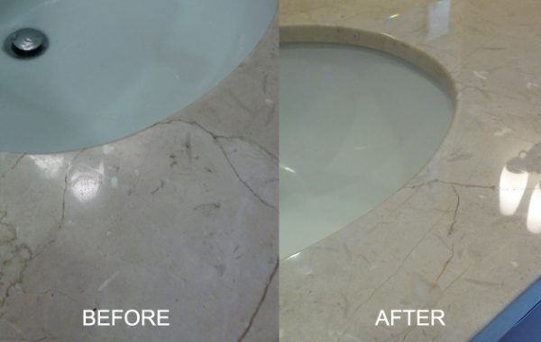 Etched Marble Sink Repolished