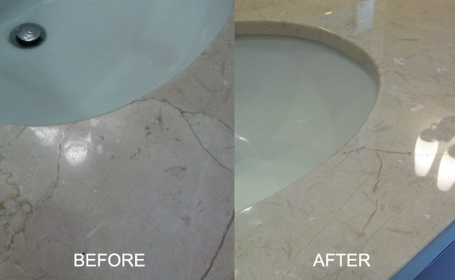 Polishing Marble Sink Before and After