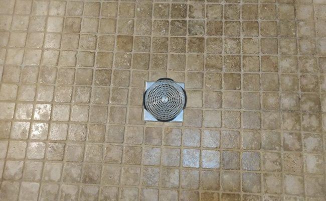 Travertine Shower Pan Before