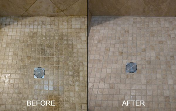Travertine Shower Pan Restored