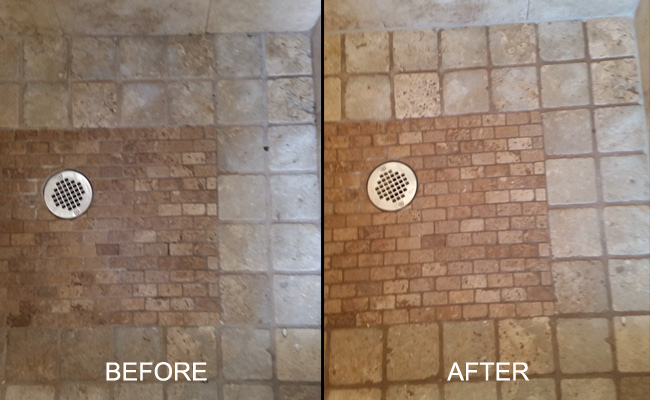 Tumbled Travertine Before and After